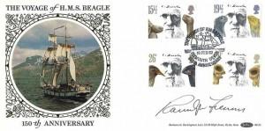 1982 Charles Darwin, Benham BLS1 Official FDC, The Voyage of HMS Beagle Plymouth Devon H/S, Singed by British Explorer Sir Ranulph Fiennes