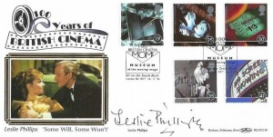 1996 100 Years of Cinema, Benham BLCS115b Official FDC, 100 British Cinema MOMI Museum of the Moving Image London SE1 8XT H/S, Signed by Actor Leslie Phillips