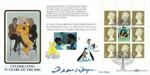 1997 75 Years of the BBC, Children in Need Pane for Prestige Booklet, Benham BLCS133c Official FDC, Celebrating 75 Year of the BBC London W1 H/S, Signed by Sir Terry Wogan