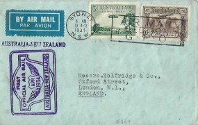"""1934 First Official Air Mail Flight cover Australia to New Zealand, then onto London via """"Faith in Australia"""".Sydney NSW Air Mail Section GPO Slogan"""