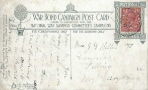 1920 War Bond Campaign Post Card, The Irresistible Tanks,Thornton East cds