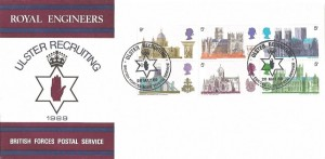 1969, British Cathedrals Ulster Recruiting Royal Engineers Official FDC,  Ulster Recruiting British Forces 1085 Postal Service H/S