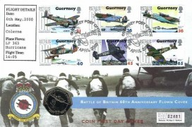 2000 Guernsey Battle of Britain 60th Anniversary Flown Coin FDC, Guernsey Post Office Spitfire H/S, Guernsey 60th Anniversary of the Battle of Britain 50p coin