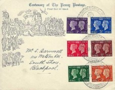 1940 Postage Stamp Centenary, Centenary of the Penny Postage FDC, 27th Philatelic Congress Bournemouth H/S