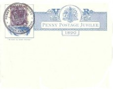 1890 Penny Post Jubilee card, used with a Penny Lilac, Penny Postage Jubilee South Kensington H/S