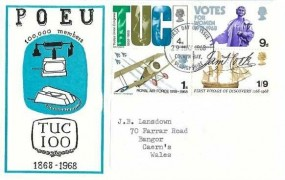 1968 British Anniversaries, Post Office Engineering Union (POEU) FDC, Colwyn Bay FDI