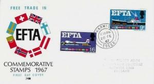 1967 European Free Trade Area (EFTA), Philart FDC, Harwich Essex cds