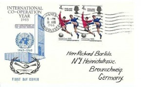 1966 England World Cup Winner, International CO-Operation Year FDC, Hayes Middlesex Cancel