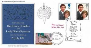 1981 Royal Wedding, Post Office FDC, Overprinted PO Staff Charity Parachute Jump, Royal Wedding Greetings Canterbury H/S+  Cachets