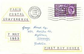 1963 Paris Postal Conference, Printed Display FDC, Harrogate Yorkshire Cancel