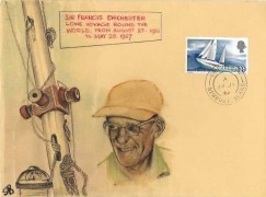 1967 Sir Francis Chichester, SB Hand Painted FDC, (in the style of S J Snoad) Chieveley Newbury Berks. cds
