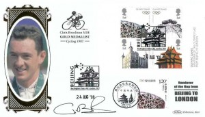 2008 Beijing To London Handover Benham BLCS403b Cover, Doubled with Beijing China, Beijing Buckingham Palace Rd London SW1 H/S, Signed by Chris Boardman