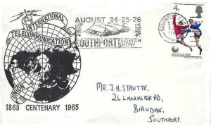1966 World Cup Football, 1965 International Telecommunications FDC, 4d only, August 24.25.26 Southport Flower Show Slogan Southport Lancs