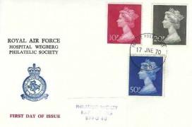 1970 10p, 20p, 50p QEII Large Format Decimal Definitive Issue, Royal Air Force Hospital Wegberg Philatelic Society FDC, Force Post Office 80 cds