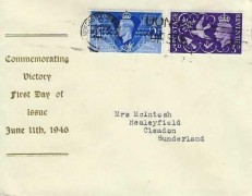 1946 Victory, Display FDC, Don't Waste Bread Other Need It Newcastle on Tyne Slogan