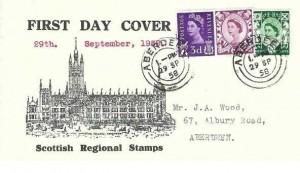 1958 3d, 6d, 1/3d Scottish Regional Issue, Marischal College Aberdeen FDC, Aberdeen cds