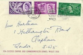 1958 Commonwealth Games,VIth British Empire and Commonwealth Games Official Stationery Envelope FDC,Empire Games Village VIth British Empire & Commonwealth Games Wales Slogan