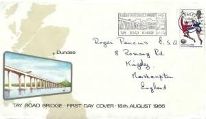 1966 World Cup Football, Tay Road Bridge Cover, 4d only, Dundee for Development Tay Road Bridge Dundee Slogan