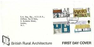 1970 British Rural Architecture, HC Commercial Envelope FDC, Southend on Sea Essex FDI