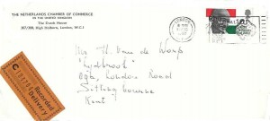 1969 Gandhi, Recorded Delivery The Netherlands Chamber of Commerce Envelope FDC, The National Postal Museum London Chief Office EC1 Slogan