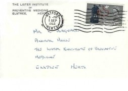 1965 Joseph Lister, The Lister Institute of Preventive Medicine Elstree Herts FDC, 4d stamp only, Watford Herts Cancel