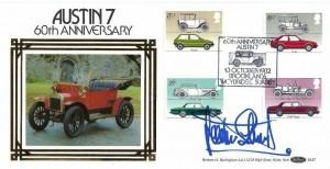 1982 British Motor Cars, Benham BLS7 Official FDC, 60th Anniversary Austin 7 Brooklands Weybridge Surrey H/S, signed by Jackie Stewart
