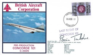1977 Last Flight of Pre-Production Concorde 101 G-AXDN Cover, Patchway Bristol cds, Signed by Brian Trubshaw