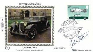 1982 British Motor Cars, Benham BS7c Jaguar SS-1 Small Silk FDC, 26p Jaguar stamp only, Sixty Years of Jaguar Cars Coventry H/S, signed by John Watson