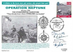 1994 D-Day, Operation Neptune 50th Anniversary Royal Naval Covers FDC, single 25p stamp only, 50th Anniversary of the Invasion of Europe Portsmouth H/S, 5 signatories
