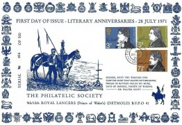 1971 Literary Anniversaries, 9th/12th Royal Lancers Philatelic Society card FDC, Field Post Office 1029 cds