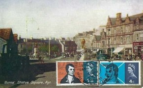 1966 Robert Burns, Davidson's Coloured Series Postcard of Burns' Statue Square Ayr,  Alloway Ayrshire H/S