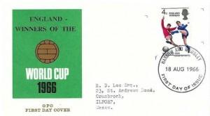 1966 England World Cup Winner, GPO Overprinted (ENGLAND WINNERS OF THE) FDC, Harrow and Wembley FDI