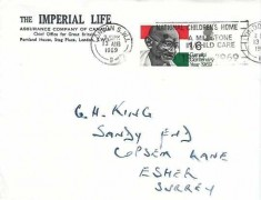 1969 Gandhi, Imperial Life Assurance Company of Canada FDC. National Children's Home A Milestone in Child Care 1869 - 1969 London SW1 Slogan
