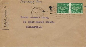 1941 King George VI ½d Pale Green pair, Prudential Assurance Co .FDC ,Edinburgh Cancel
