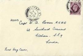 1947, King George VI 11d Plum Definitive Issue, Plain FDC, Eltham SE9 cds