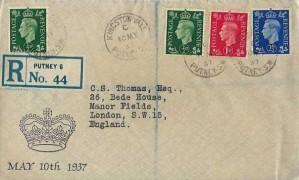 1937 ½d, 1d ,2½d, King George VI Definitive Issue, Registered Illustrated Crown FDC, KINGston Vale Putney cds
