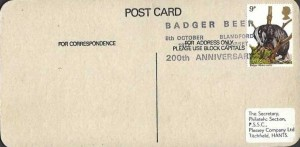1977 British Wildlife, Hall & Woodhouse The Home of Badger Beer Mat Postcard FDC, 9p Badger stamp only, Badger Beer 200th Anniversary Blandford Dorset H/S