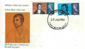 1966 Robert Burns, Illustrated for auld lang syne FDC. London WC FDI