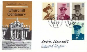 1974 Winston Churchill, Post Office FDC, First Day of Issue Woodstock Oxford H/S, Signed by Collis Clements & Edward Hughes Stamp Designers