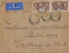 1936 Air Mail Cover to Santiago Chile, 8/- Airmail Rate, Flown via Paris, Cardiff 17 cds