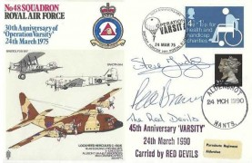 1975 30th Anniversary of Operation Varsity RAF Cover, Doubled Dated 45th Anniversary Varsity 25th March 1990, Carried & Signed the Red Devils