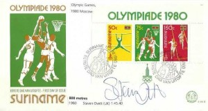 1980 Suriname Olympic Miniature Sheet FDC, First day of Issue Suriname H/S, Signed by Steve Ovett 800 Metres Gold Medalist