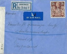 1940 Registered Censored Air Mail cover to Zurich Switzerland from Droitwich Worcestershire, Droitwich cds