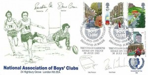 1985 The Royal Mail, Official National Association of Boys' Club (NABC) FDC, National Association of Boys' Clubs Diamond Jubilee Trentham Gardens Stoke on Trent H/S