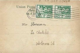 1943 Jersey ½d Green Pair on Illustrated Ribeira Sta. Luzia Madeira Postcard, Jersey Cancel