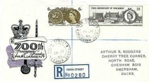 1965 700th Anniversary of Parliament Registered Illustrated FDC, Penn Street Amersham Bucks. cds