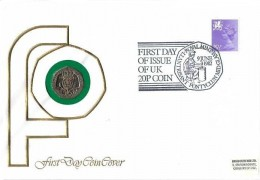 1982 First Day of the 20p Coin, David Fletcher Cover. First Day of Issue of UK 20p Coin Royal Mint Llantrisant Ponyclun Mid Glamorgan H/S