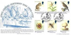 1998 Endangered Species, Bradbury Official Lewis Carroll Centenary Year FDC, Birthplace of Lewis Carroll Daresbury Warrington H/S