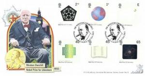 2001 Nobel Prize, Bradbury Britannia No.9 Official FDC, Sir Winston Churchill Westminster London H/S