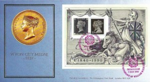 1990 Penny Black Anniversary Miniature Sheet, Covercraft Wyon Medal Official FDC, Penny Black 150th Anniversary Birthplace of William Wyon Birmingham H/S